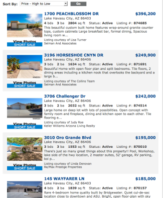 LAKE HAVASU CITY SHORT SALE